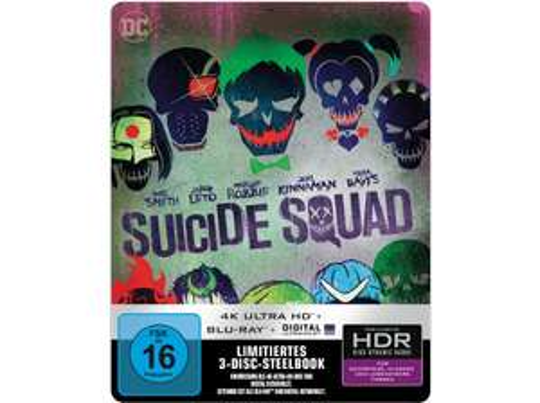 [Mediamarkt GDD] Suicide Squad (Kinofassung & Extended Cut) (3 Discs) SteelBook™ RS [4K Ultra HD Blu-ray + Blu-ray] für 19,-€