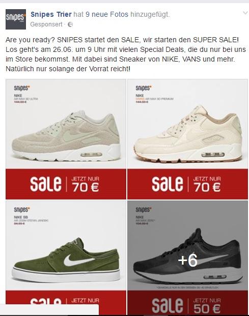 [Lokal SNIPES OFFLINE] Top Angebote ab dem 26.06. in versch. Stores