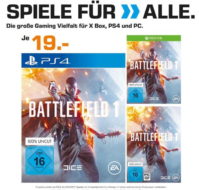 [Lokal Saturnmärkte Berlin und Potsdam ab 22.06] Battlefield 1 (Playstation 4 / Xbox One und PC) für je 19,-€