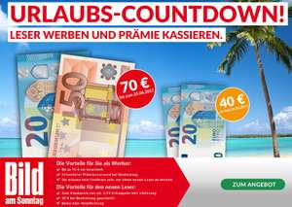 Ein ganzes Jahr lang BILD am Sonntag für 21 EUR
