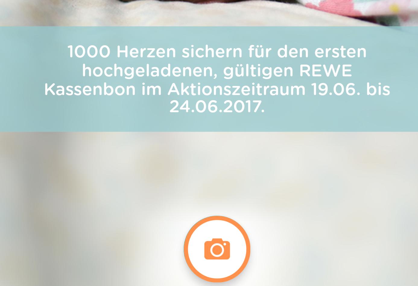 1.000 Herzen für den ersten hochgeladenen Rewe-Kassenbon in der App vom Pampers Club