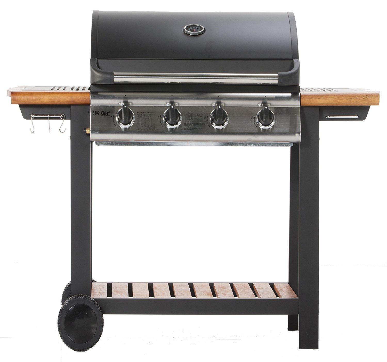 Gasgrill MAXXUS® BBQ CHIEF 6.2 / 4 Brenner mit 14kW, Echtholz-Ablage für 199€ inkl. Versand statt 309€ [amazon.de]