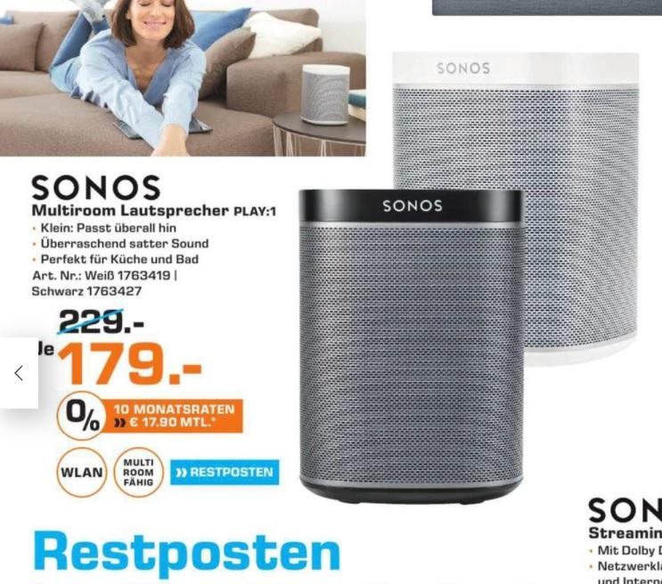 (Lokal) Sonos Play 1 Schwarz o. Weiß 179,- €, Saturn Duisburg