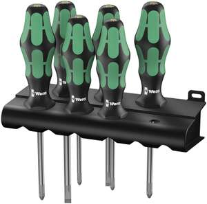 Wera Schraubendrehersatz Kraftform Plus Lasertip + Rack, 6-teilig (335/350/355/6) für 17,95€ (Amazon Prime)