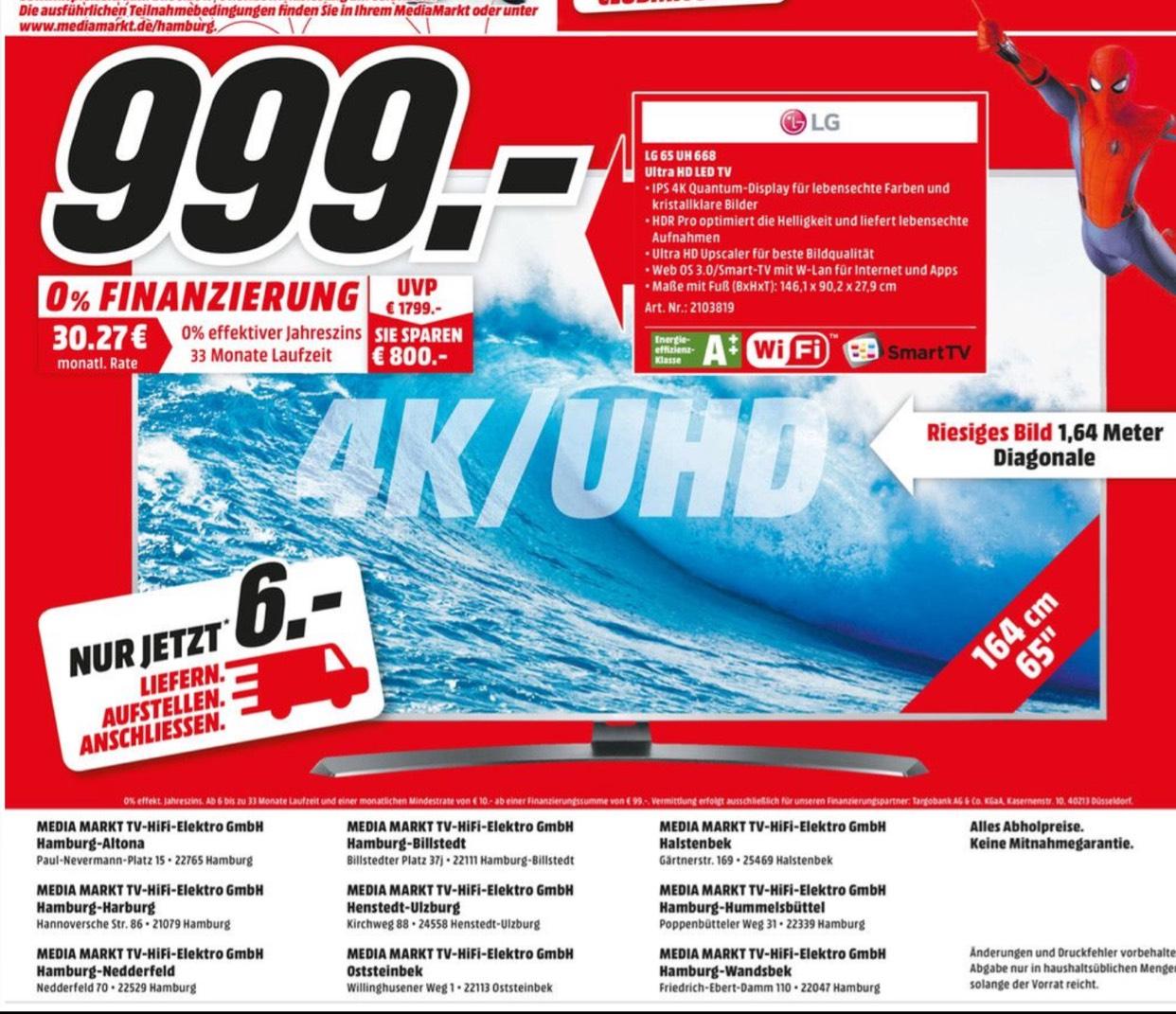 [LOKAL HH] LG 65 UH 668 4K UHD + HDR PRO nur 999€ statt 1499€