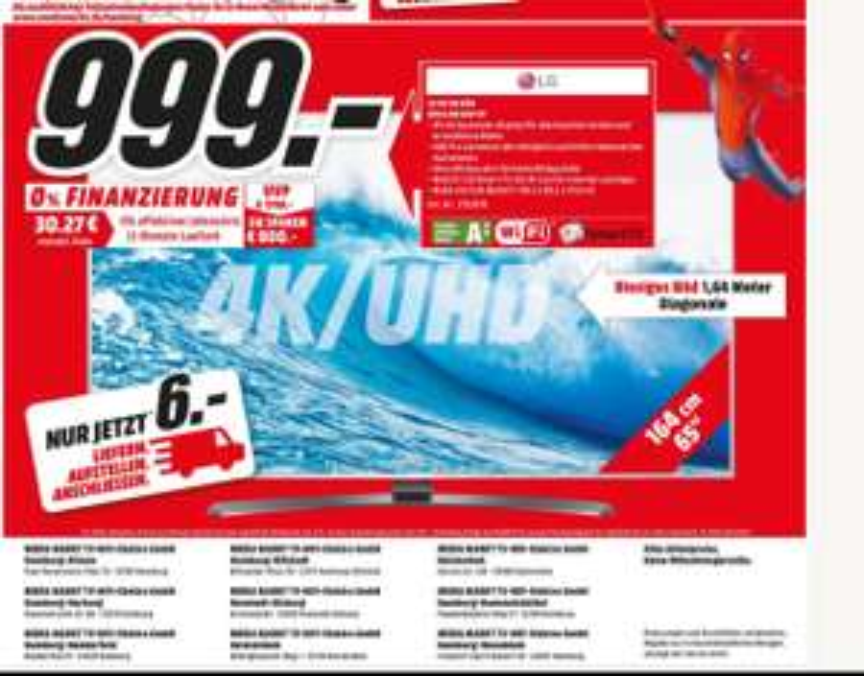 LG 65 UH 668 4K UHD + HDR PRO nur 999€ statt 1499€