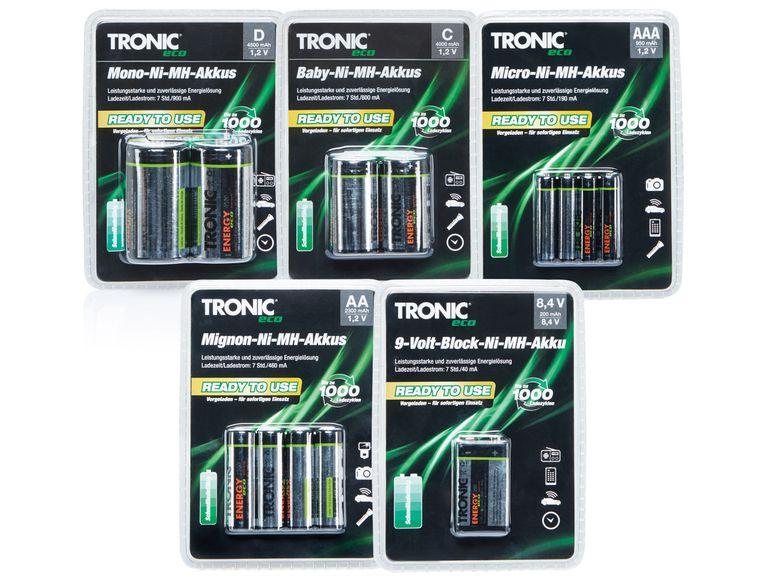"""[Lidl online] TRONIC® """"Ready to use"""" -NimH-Akkus AA und AAA 4er Pack für 1,99€ + Vsk ab 30€ mbw. Versandkostenfrei"""
