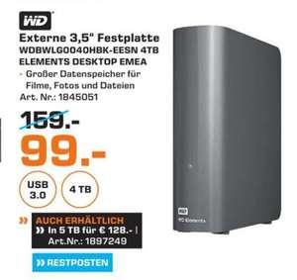 (Lokal) Western Digital Elements Desktop 4TB für 99€ 5TB für 128€ @ Saturn Duisburg