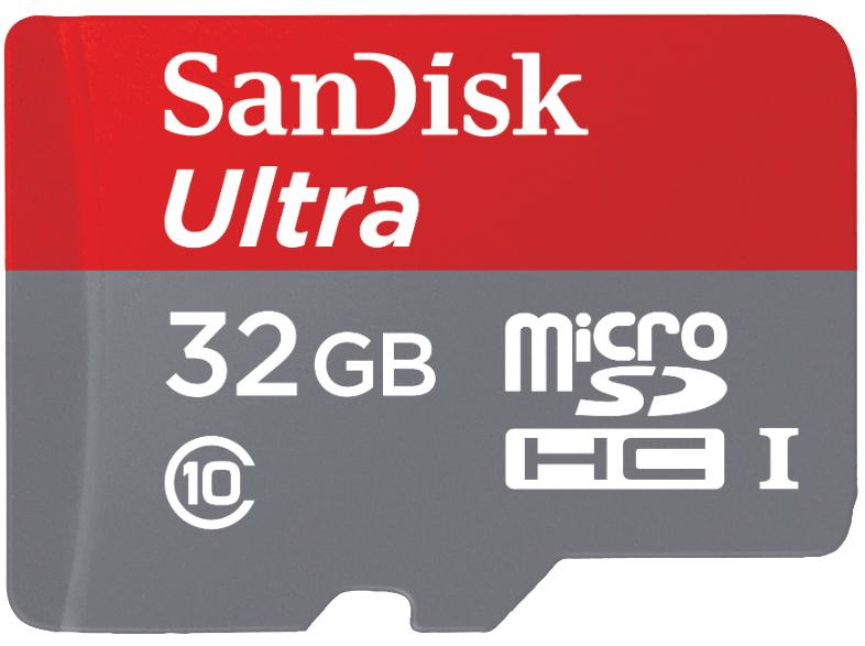 [Saturn LNS] SanDisk Ultra microSDHC 32GB bis zu 80 MB/Sek Class 10 Speicherkarte + SD-Adapter für 9,99€ Versandkostenfrei