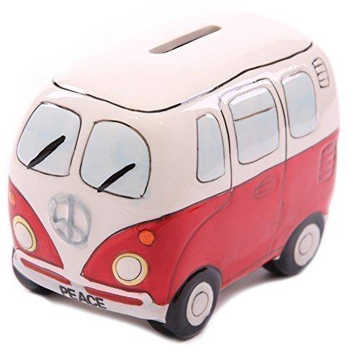 "VW ""Camper Bus"" Peace-Spardose aus Keramik 8x10cm in Rot für 5€ [MÜLLER]"