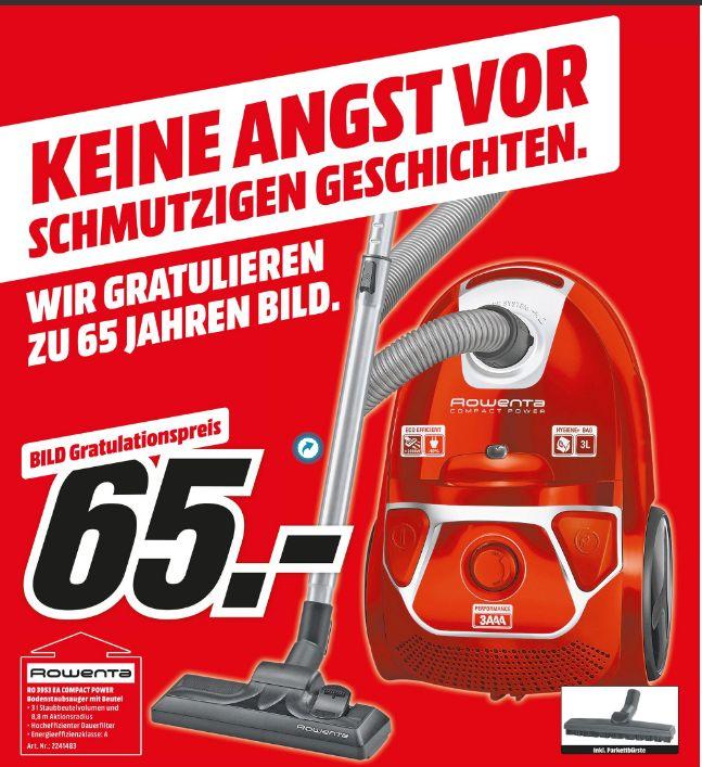 [Mediamarkt] ROWENTA RO3953 EA Compact Power (mit Beutel, High Filtration Filter, A, Rot/Silber) für 65,-€ Versandkostenfrei