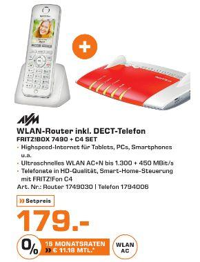 [Lokal Mediamarkt Stuttgart/Esslingen] AVM FRITZ!Box 7490 WLAN Router mit integriertem DSL Modem + AVM FRITZ!Fon C4 Dect-Schnurlostelefon Babyfon-Funktion Anrufbeantworter (Weiß) für zusammen 179,-€