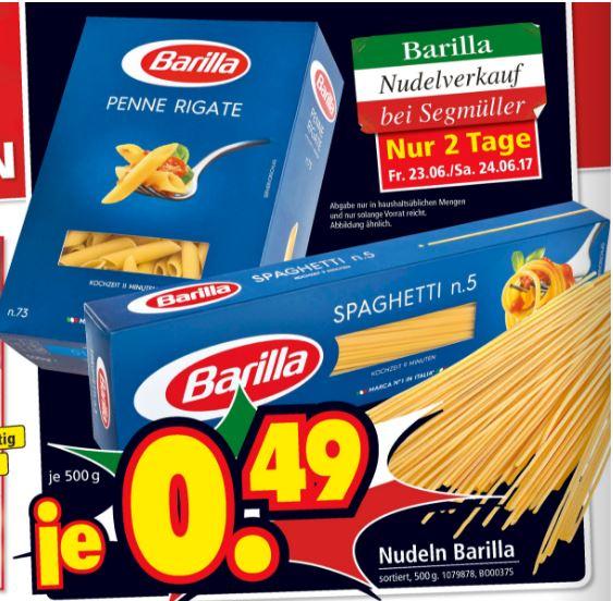 [Segmüller] Barilla Nudeln für 0,49€ am 23+24.06.17