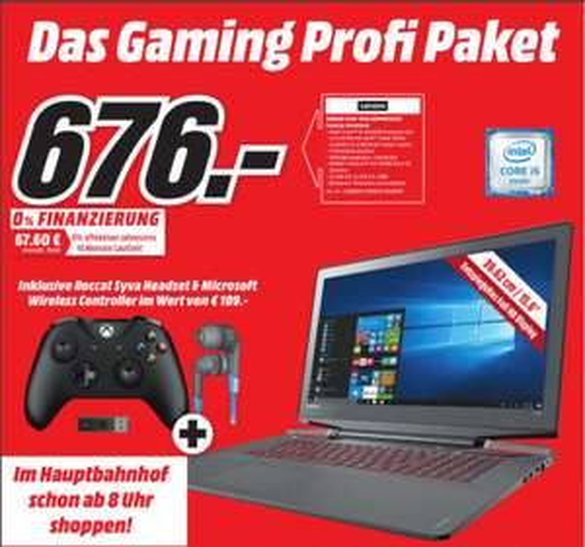 [Lokal Mediamärkte Berlin] Lenovo ideapad Y700(15,6 Zoll Full HD IPS), (Intel Core i5-6300HQ Quad-Core, 8 GB RAM, 1 TB HDD, 128 GB SSD, Nvidia GTX 960M 4GB, Windows 10 Home) schwarz inc. XboxOne Controller + Wireless Adapter +Kopfhörer für 676,-€