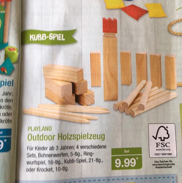 Aldi-Nord: Wikingerschach (Kubb) aus Holz für 9,99 €