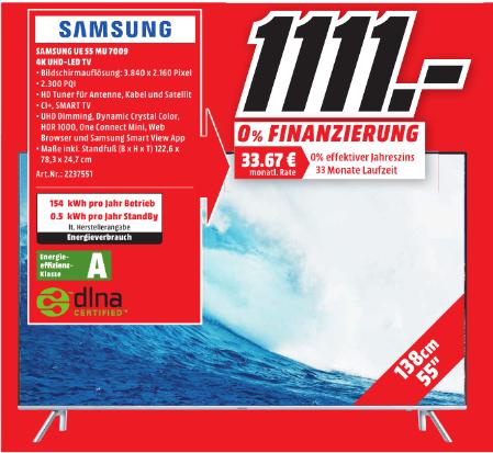 [Lokal Gießen] Samsung UE55MU7009 100HZ HDR10 PQI 2300 1111€