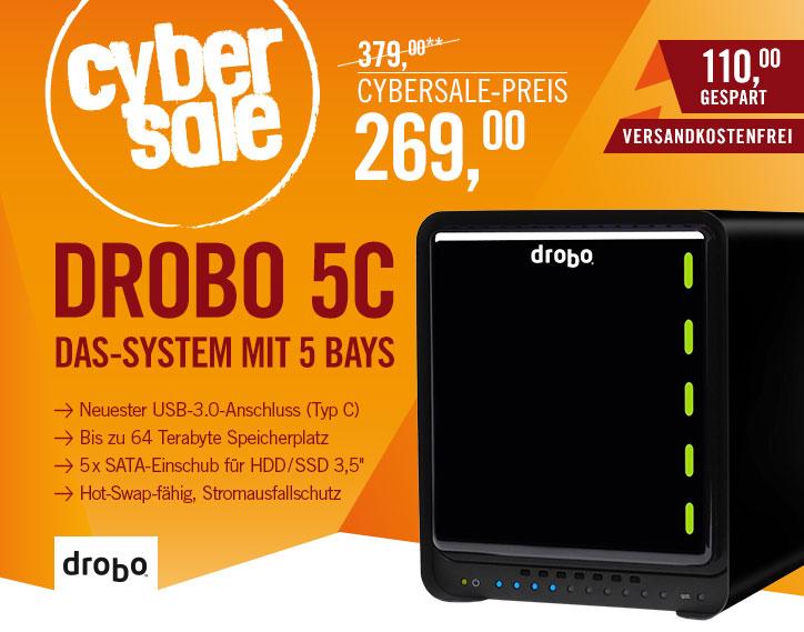 Drobo 5C - DAS-System mit 5 Bays für bis zu 64 TB Speicherplatz mit USB Typ-C und Stromausfallschutz