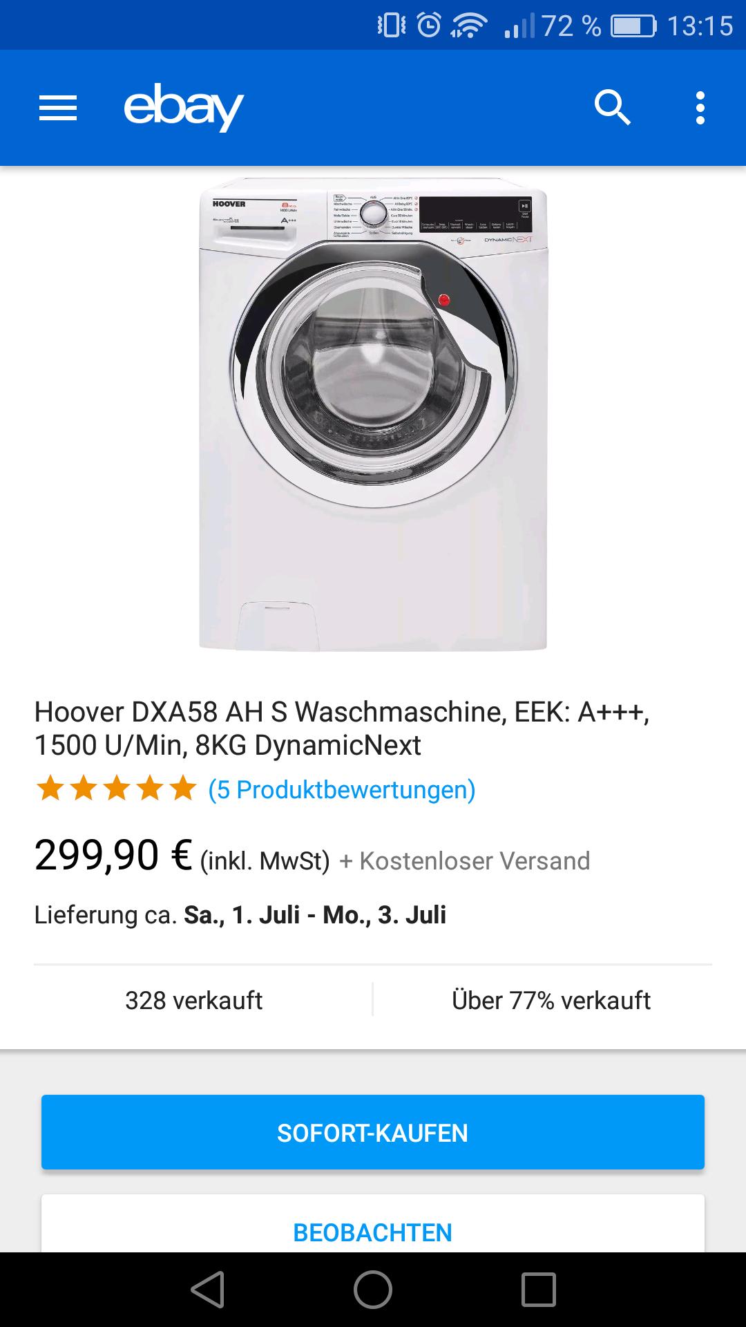 Hoover DXA58 AH- S Waschmaschine, EEK: A+++, 1500 U/Min, 8KG DynamicNext