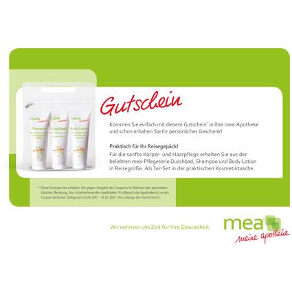MEA Apotheken. Praktisches 3er-Reiseset (Shampoo, Duschbad, Body Lotion) kostenlos in der Filiale