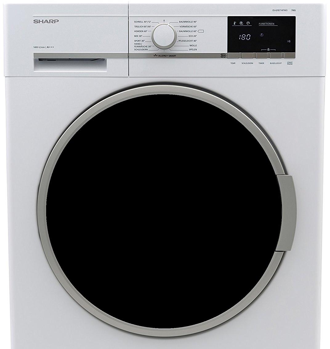 Sharp Waschmaschine A+++, 7kg, Aquastop, 15 Minuten Schnellwaschprogramm, Beladungserkennung, LED Display und schwarz getöntem Bullauge