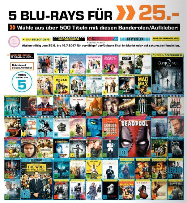 [Saturn ] Multibuy-Aktion. 5 Blu-Rays für 25,.-€. Auswahl aus über 500 Titeln. Zb.Deadpool,MadMax,Der Marsianer,Hateful 8 und weitere.**Aktion Online und Versandkostenfrei