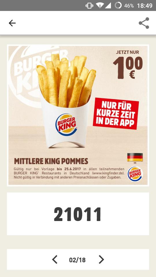 Mittlere King Pommes bei Burger King [im der App]