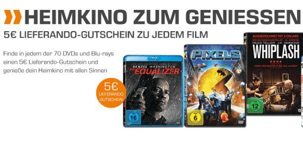[Saturn] Kaufe eine DVD oder Blu-Ray (Auswahl aus 35 Filmen) zwischen 5,99€ und 7,99€ und erhalte einen 5,-€ Lieferandogutschein (Ohne MBW) dazu