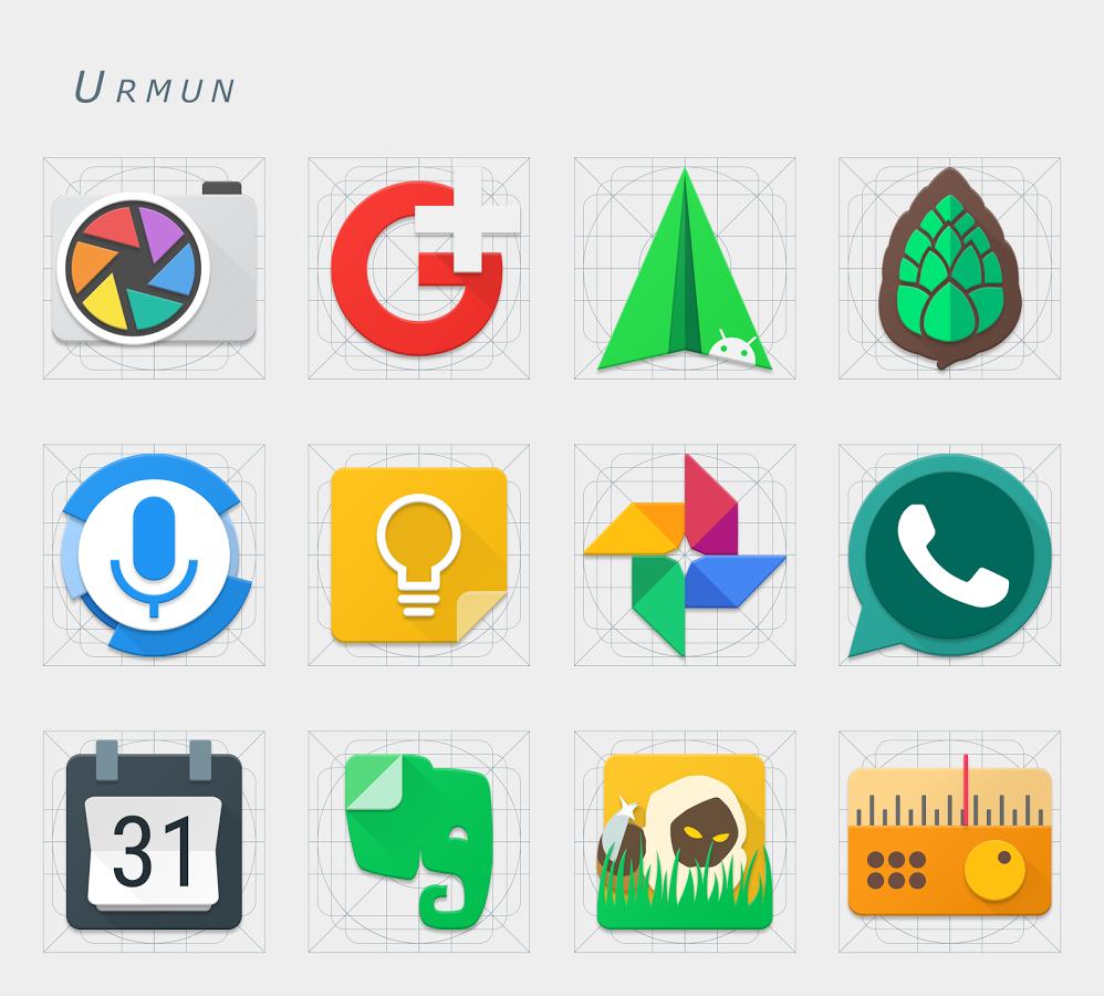 4 Android Icon Packs for free: Urmun, Neon Glow C, Rifon, Sorus
