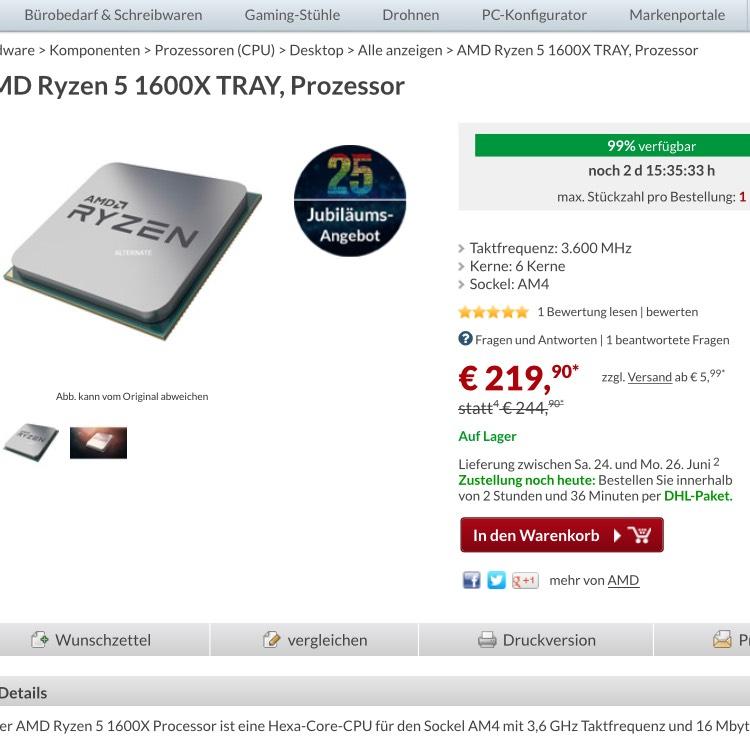 AMD Ryzen 5 1600x (tray)