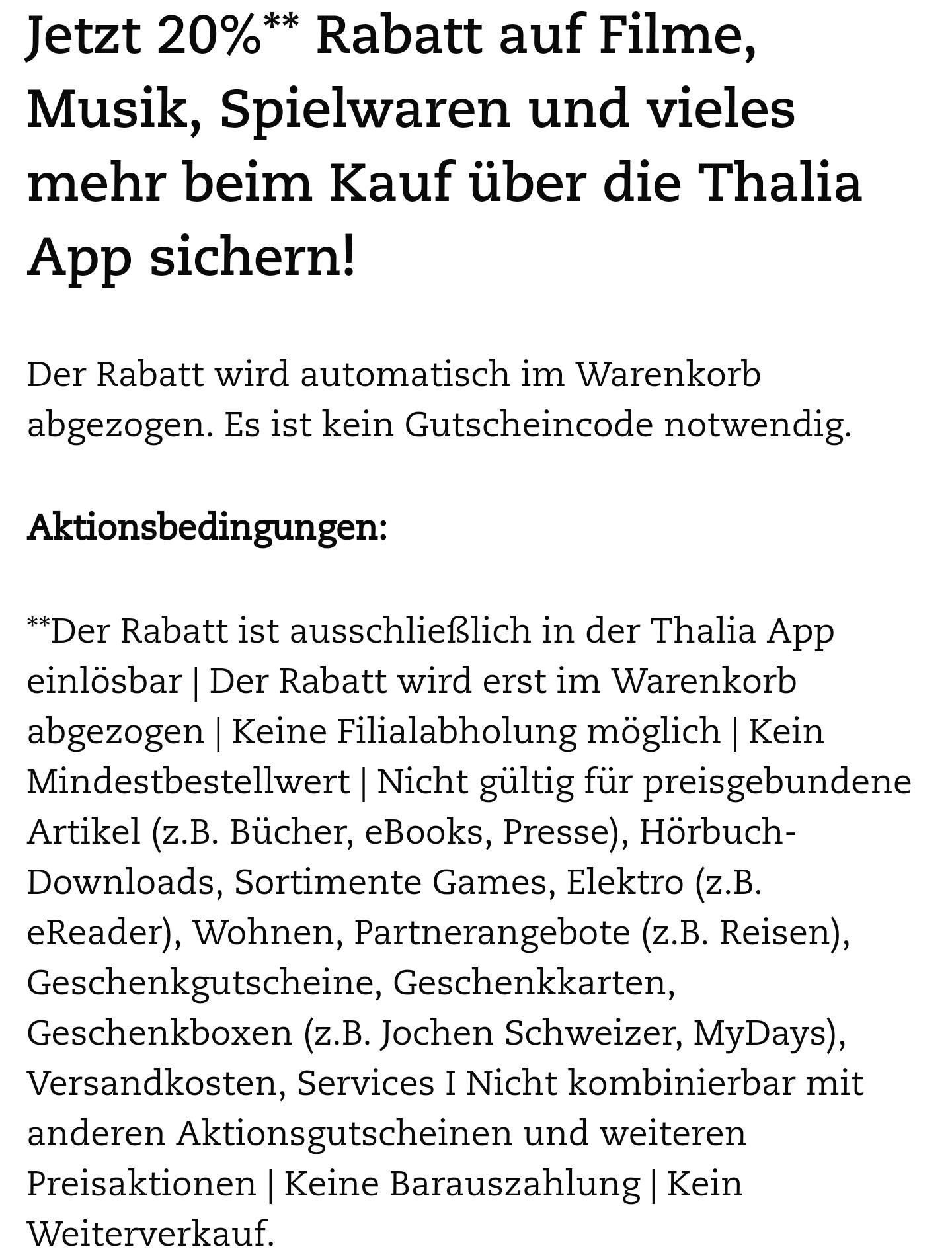 20 % auf alles über die Thalia-App