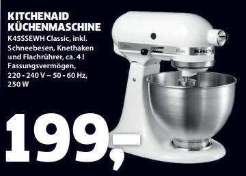 kitchenaid k45ssewh küchenmaschine classic