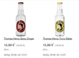 24 x 0,2l - Thomas Henry Spicy Ginger oder Tonic Water  - 29.06. - 12.07 (METRO)