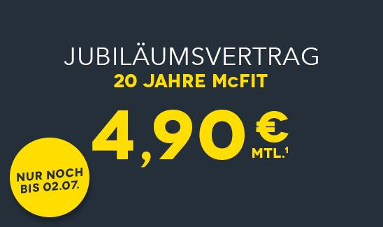 20 Jahre McFit mit Jubiläumvertrag: die ersten 6 Monate für mtl. 4,90€