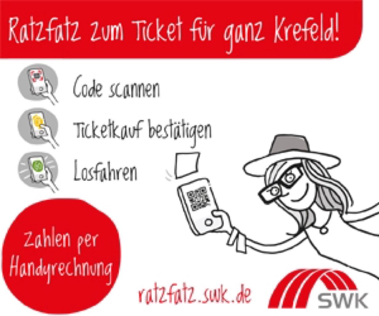 [lokal Krefeld] Einzelticket PS A für Bus und Bahn nur 1,- statt 2,70