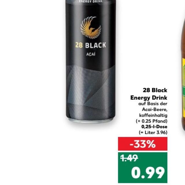 Kaufland: Schwarze Dose / 28 Black Acai 0,99€ zzgl. Pfand