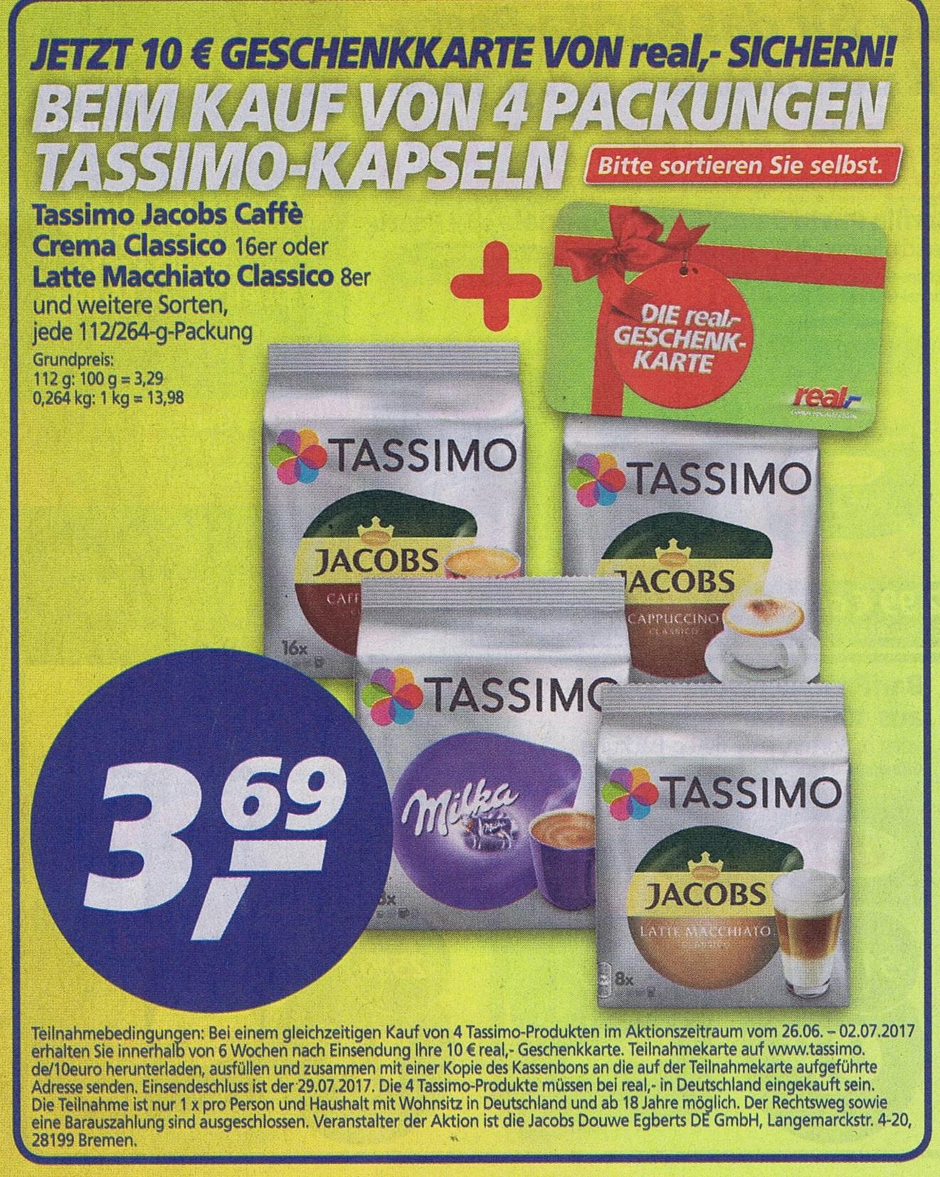 10€ Real Gutschein beim Kauf von 4 Tassimo-Produkten