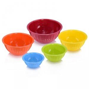 5 bunte Schalen aus Melamin (0,5l - 3,5l Füllmenge) in den Farben des Regenbogens für 12,99€ bei [bluespoon]