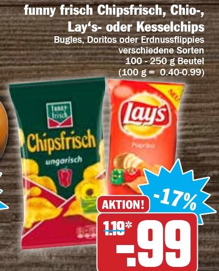 [Hit KW26] funny frisch Chipsfrisch, Chio-,  Lay's- oder Kesselchips je 0,99€
