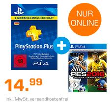 PlayStation Plus Card 3 Monate + PES 2016 (PS4) für 14,99€ bei Saturn