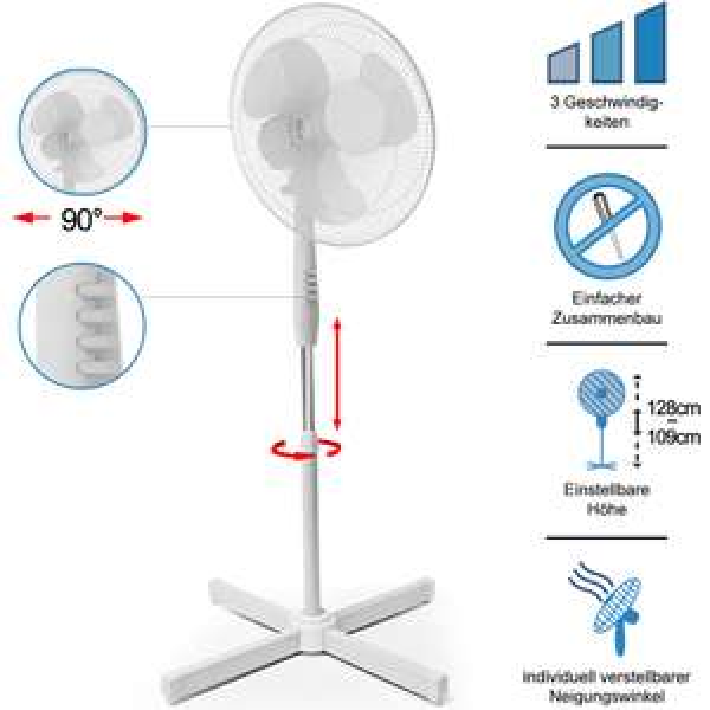 Standventilator - 3 Stufen - höhenverstellbar - drehbar - Ø 43cm