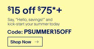 [ebay.com] 15$ Ersparnis ab 75$ Mindestbestellwert nur noch bis 5:00 AM dt. Zeit