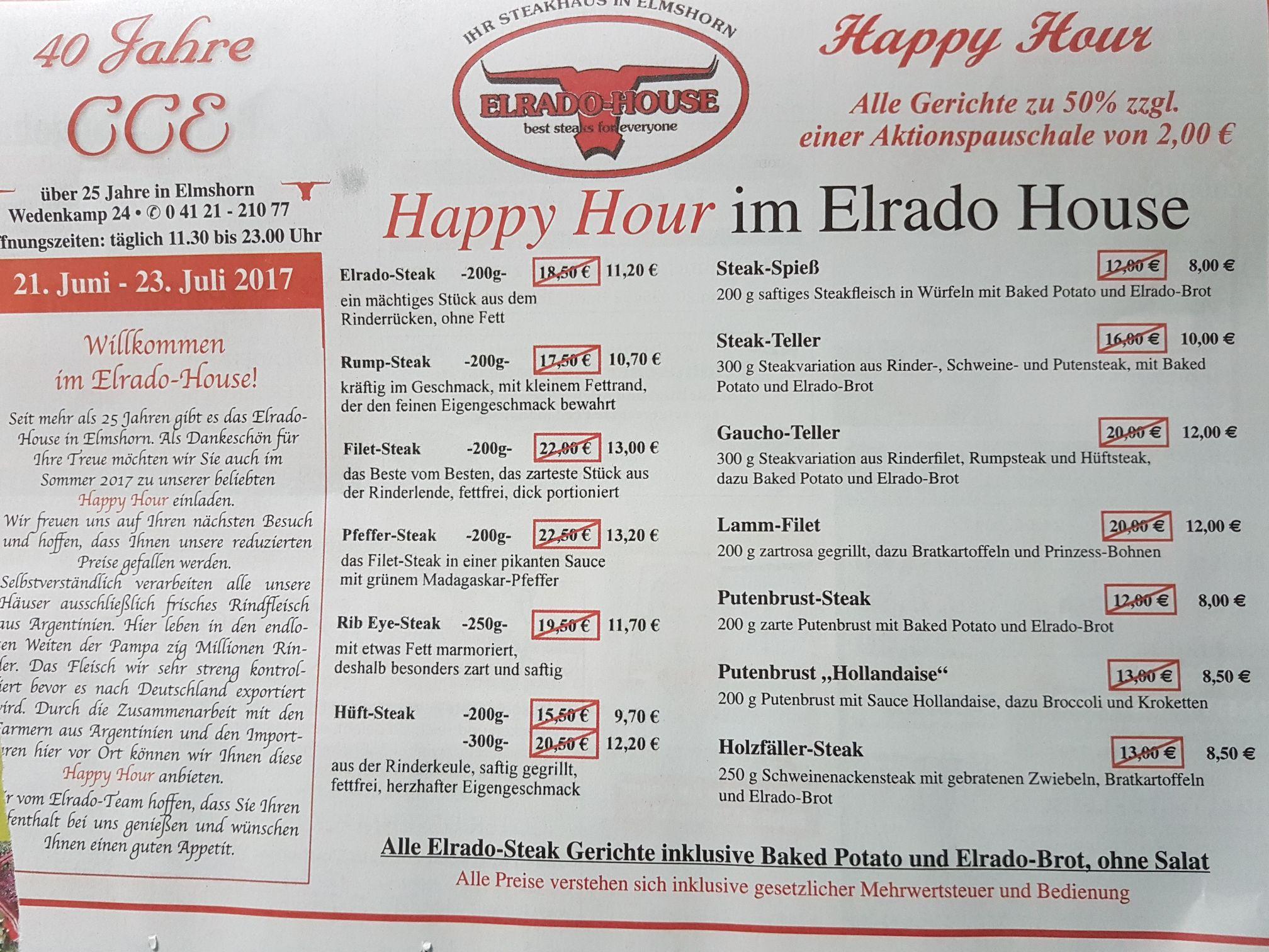 [Lokal Elmshorn] 50% Rabatt im Steakhaus Elrado (zzgl. 2 Euro)