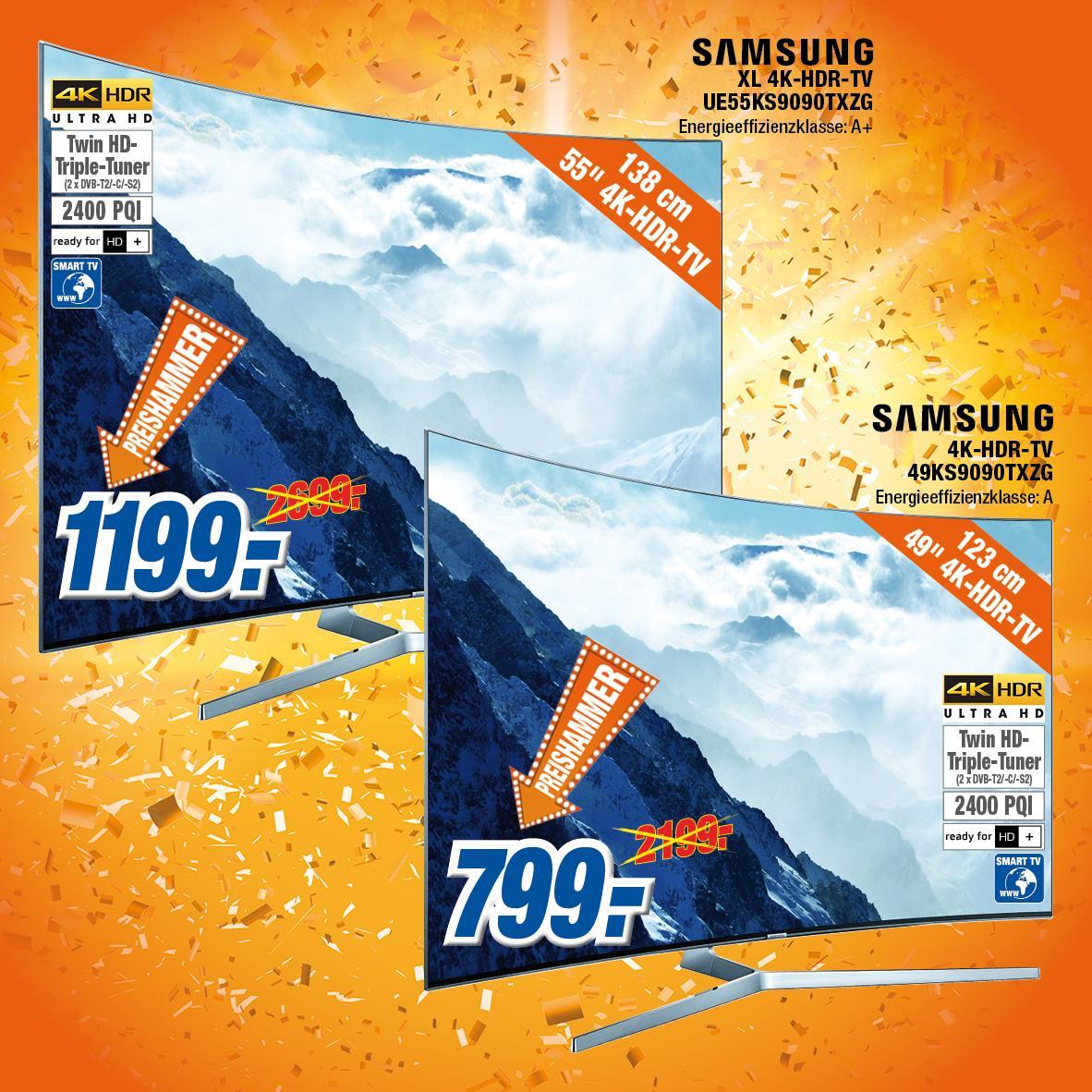 SAMSUNG UE49KS9090 für € 799,- und UE55KS9090 für 1.199,- nur noch heute bei Expert Klein Koblenz/Neuwied