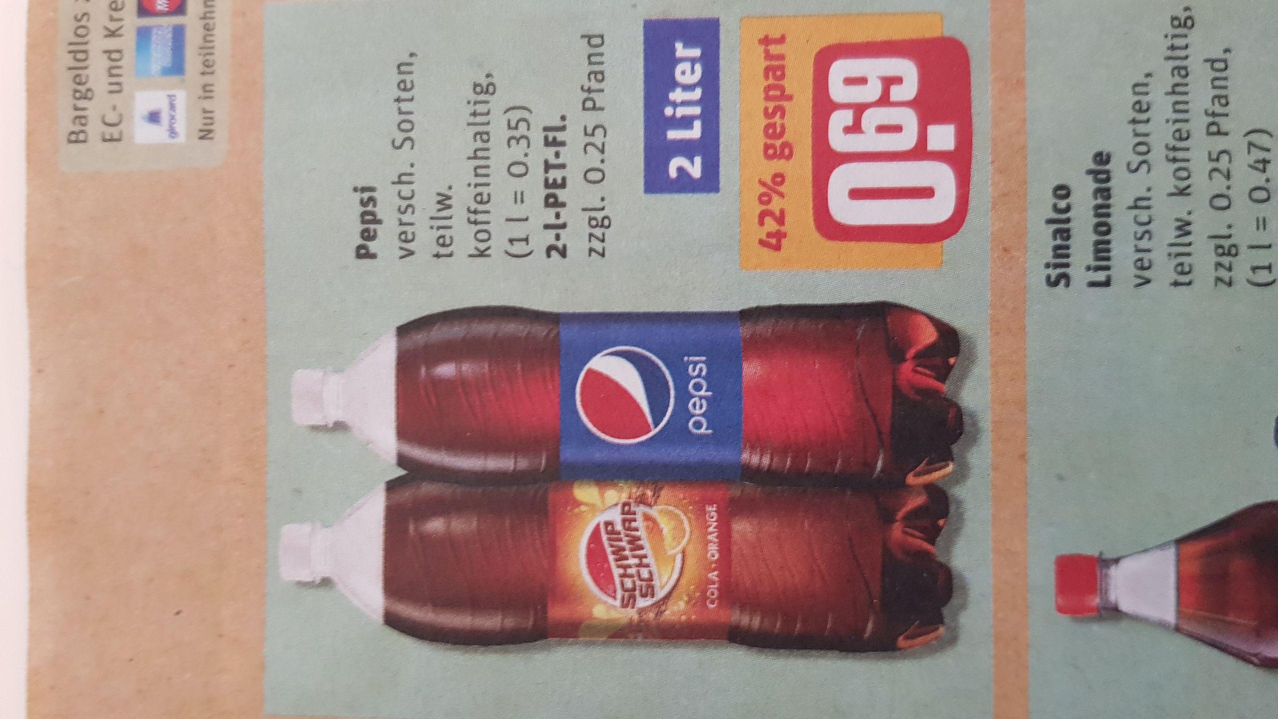 Pepsi versch. Sorten 2L Flasche für 0,69€ @ Rewe zzgl Pfand