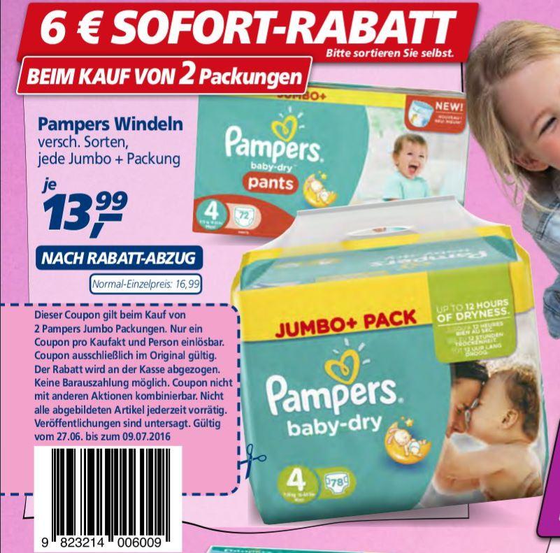 [real,-] 2x Pampers Jumbo+ Pakete und 6 € Sofortrabatt erhalten + original Coupon möglich