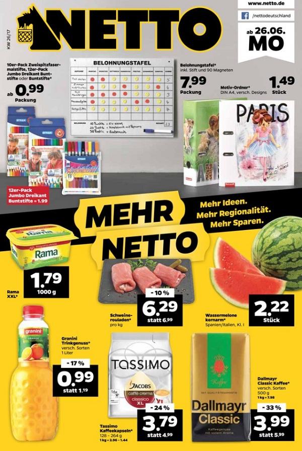 [netto mit Scotti] ab 26.06.-01.07.2017 1 Stück Wassermelone für 2,22 €