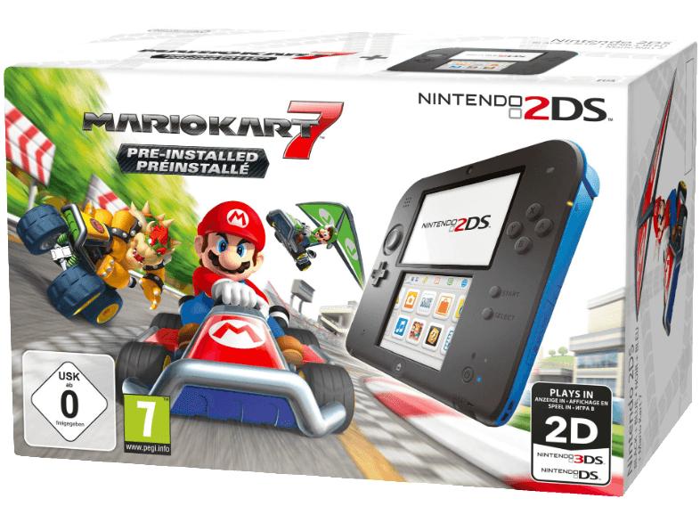 Nintendo 2DS - Konsole (Schwarz/Blau) inkl. Mario Kart 7 für 77€ versandkostenfrei (Saturn + Amazon)