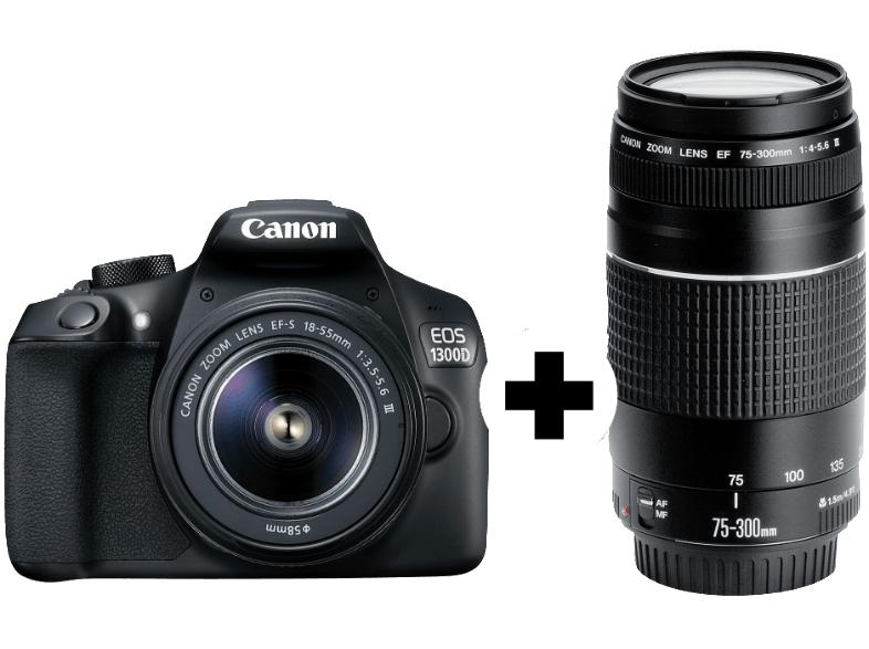 CANON EOS 1300D Kit DFIN III Spiegelreflexkamera 18 Megapixel mit Objektiv 18-55 mm, 75-300 mm f/5.6, f/5.6, 7.5 cm , WLAN
