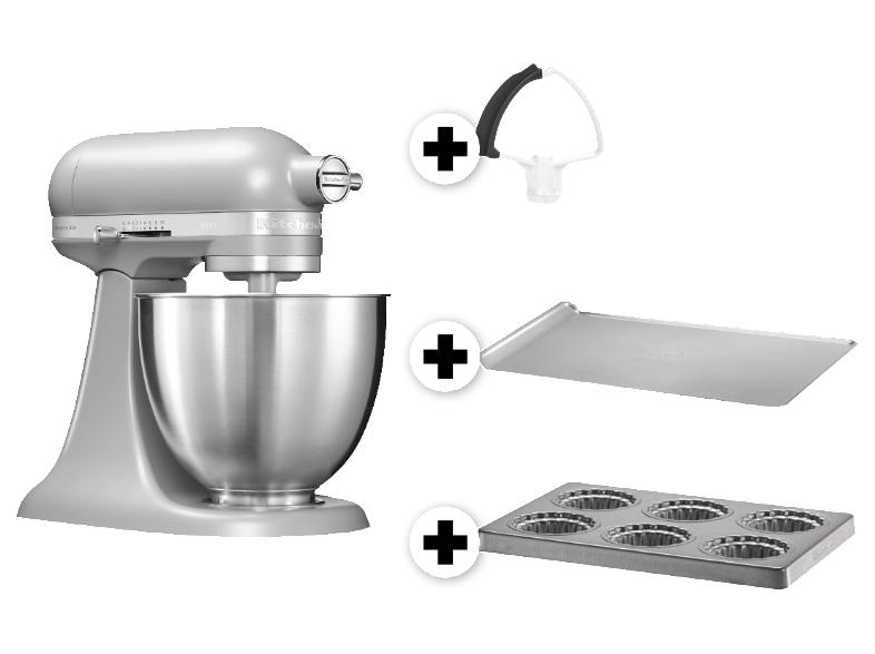 KITCHENAID 5KSM3311XEFG inkl. Backblech, Mini-Kuchenbackblech und Felxirührer Küchenmaschine Grau matt