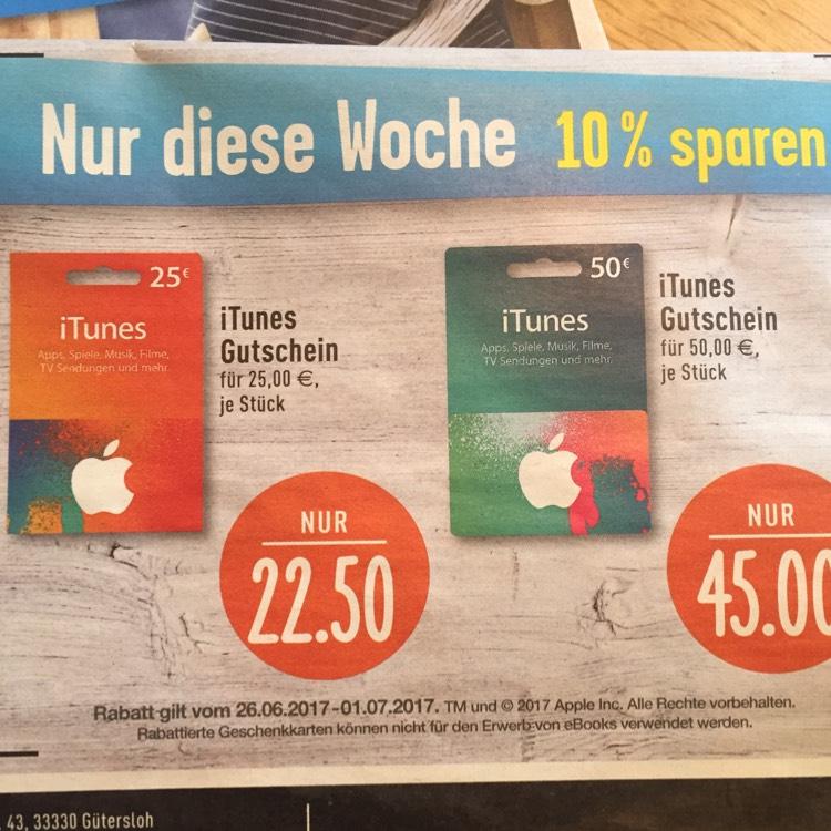 Edeka iTunes Gutscheine 10% sparen